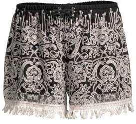 Jonathan Simkhai Embroidered Ruffle Shorts