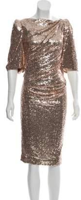Talbot Runhof Sequin Knee-Length Dress w/ Tags Champagne Sequin Knee-Length Dress w/ Tags