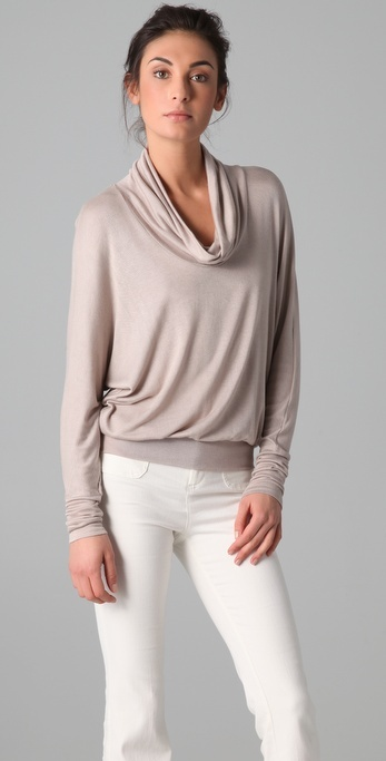 Three Dots Long Sleeve Cowl Turtleneck Sweater