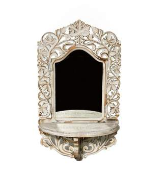 """CC Home Furnishings 26"""" VedaHome Hand Carved Antiqued White Framed Arch Wall Mirror with Shelf"""