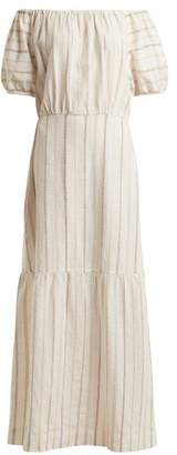 Ace&Jig Quince Off The Shoulder Striped Cotton Dress - Womens - White Stripe
