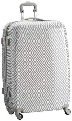 Pottery Barn Teen Hard-Sided Checked Spinner, Preppy Diamond Gray
