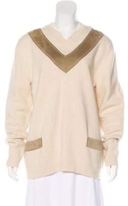Derek Lam Suede-Trimmed Wool V-Neck Sweater