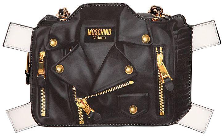 MoschinoBiker Tab Leather Shoulder Bag
