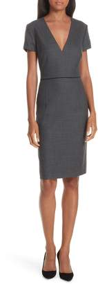 BOSS Doritala Geometric Wool Blend Sheath Dress
