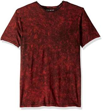 GUESS Men's Short Sleeve Gunnarson Mineral Wash Crew Neck Shirt