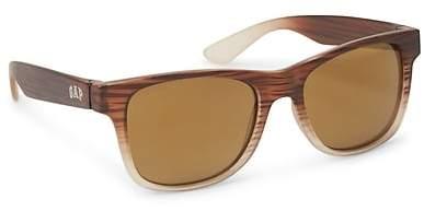 Wood Print Square Sunglasses
