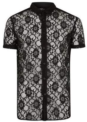 Topman Mens Black Muscle Short Sleeve Lace Shirt