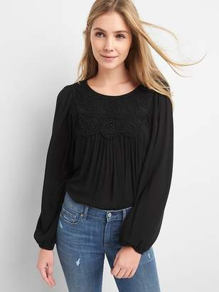 Gap Crochet Blouson Sleeve Top