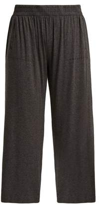 Norma Kamali Boyfriend Cropped Track Pants - Womens - Dark Grey