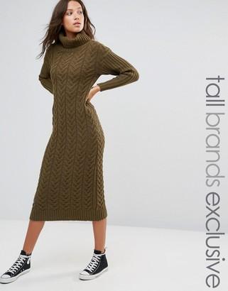 Glamorous Tall Midi Roll Neck Sweater Dress $76 thestylecure.com