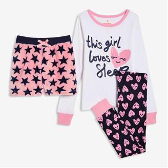 Joe Fresh Kid Girls' 3 Piece Sleep Set, Pink (Size M)