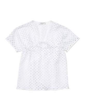 Milly Minis Short-Sleeve Netted Swim Coverup, White, Size 8-14 $135 thestylecure.com