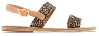 Ancient Greek Sandals - Dinami Leather And Satin Sandals - Womens - Leopard