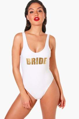 boohoo Benidorm Bride Slogan Scoop Swimsuit