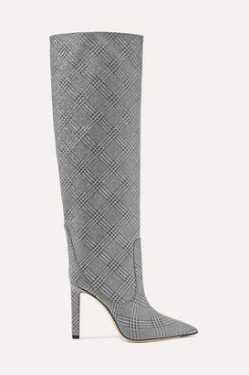 Jimmy Choo Mavis 100 Prince Of Wales Checked Glittered Leather Boots - Silver