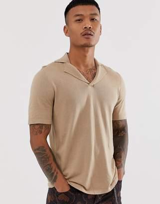 Asos Design DESIGN knitted revere polo t-shirt in tan