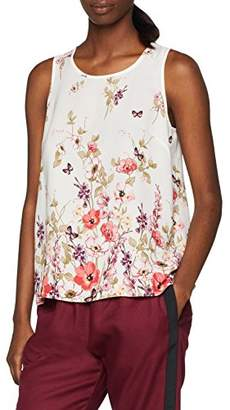 New Look Women's Floral Border Split 5752749 Blouse (White Pattern 19), 6 (Manufacturer Size:6)