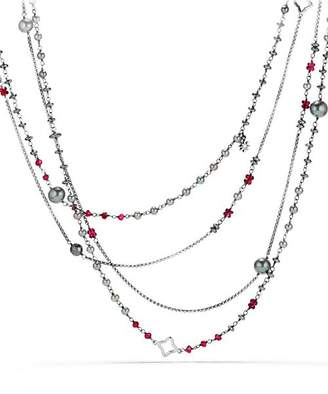 David Yurman Oceanica Two-Row Chain Necklace with Gray Dyed Cultured Freshwater Pearls, Hematine and Rhodolite Garnet