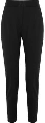 Alexander Wang Silk Satin-trimmed Studded Crepe Tapered Pants - Black