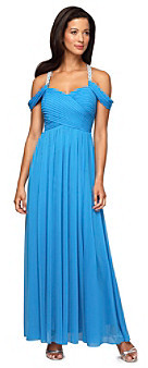 Alex Evenings Cold Shoulder Gown With Pleated Bodice