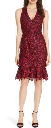 Alice + Olivia Katia Ruffled Lace Sheath Dress