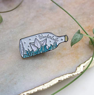 Wanderlust Sparrow and Wolf Ship In Bottle Enamel Pin With Origami Boat