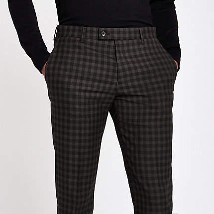 River Island Brown shadow check skinny fit suit trousers