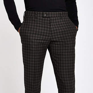 River Island Mens Brown shadow check skinny fit suit trousers