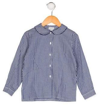 Papo d'Anjo Girls' Gingham Button-Up Top