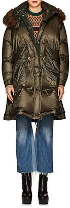 Sacai Women's Faux-Fur-Trimmed Down Puffer Coat