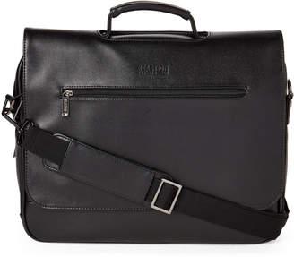 Kenneth Cole Reaction Black Encased Saffiano Faux Leather Flap Messenger Bag