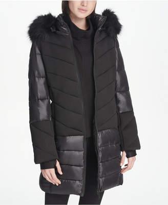 DKNY Sport Faux-Fur Hood Long Puffer Jacket