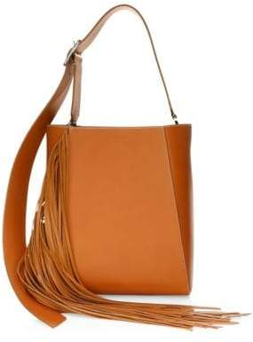 Calvin Klein Leather Fringe Bucket Bag