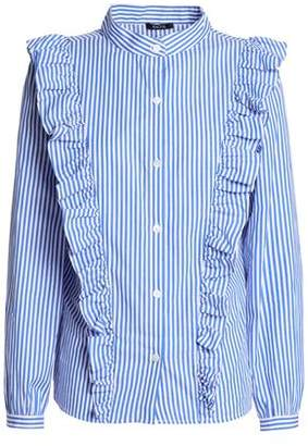 Raoul Ruffled Striped Cotton-Poplin Shirt