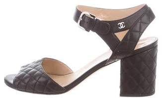 Chanel Quilted Ankle Strap Sandals