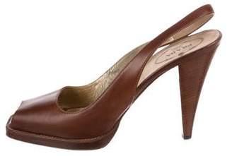 Prada Leather Slingback Sandals