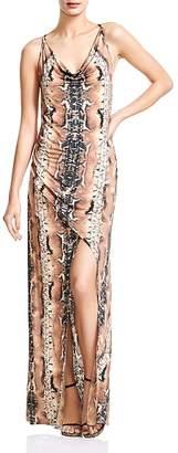 Haute Hippie Sidewinder Snakeskin-Print Maxi Dress