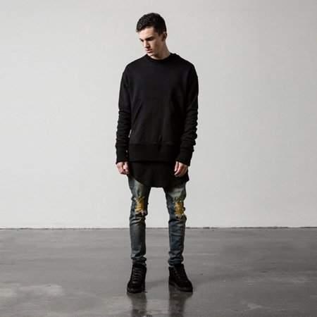 YSJX Comfortable Men Straight Slim Fit Biker Jeans Pants Denim Trousers Skinny Cool