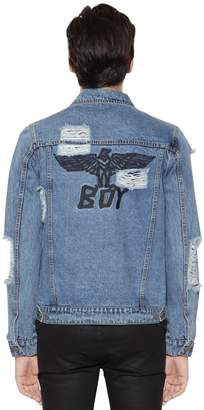 Boy London Distressed Logo Embroidered Denim Jacket