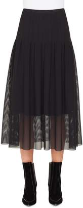 Akris Punto Stitch Pleated Mesh Midi Skirt