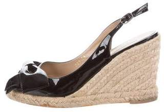 Valentino Patent Leather Wedge Sandals