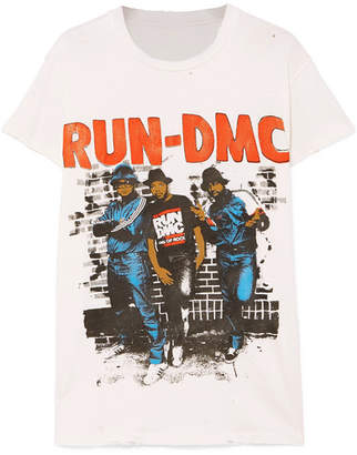 Off-White MadeWorn - Run-dmc Distressed Printed Cotton-jersey T-shirt d0a37b455