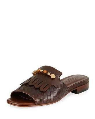 Sesto Meucci Gillis Woven Kiltie Flat Slide Sandal, Dark Tan
