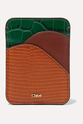 Chloé Walden Color-block Leather Cardholder - Camel