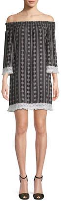 Endless Rose Print Off-The-Shoulder Dress