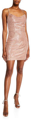 Faviana Glittery Cowl-Neck Spaghetti-Strap Mini Dress