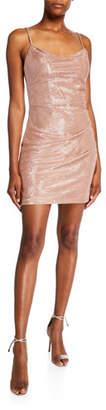 Faviana Glittery Cowl-Neck Spaghetti-Strap Mini Dress