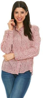 Brio LADIES WEAR Women's Collared Button down long sleeve top (Red/White, Medium)