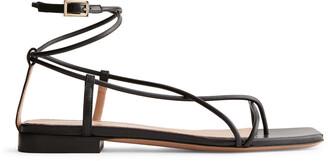 Arket Flat Leather Strap Sandal